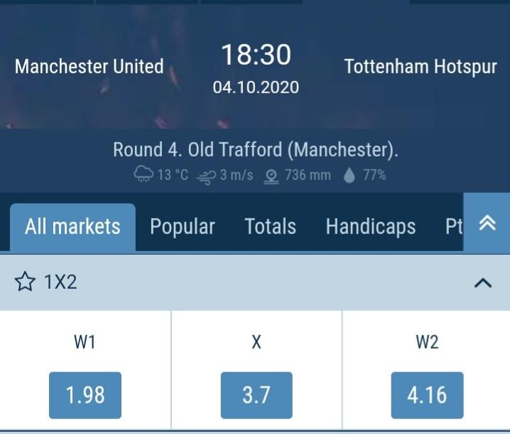 Man United vs Tottenham  Odds